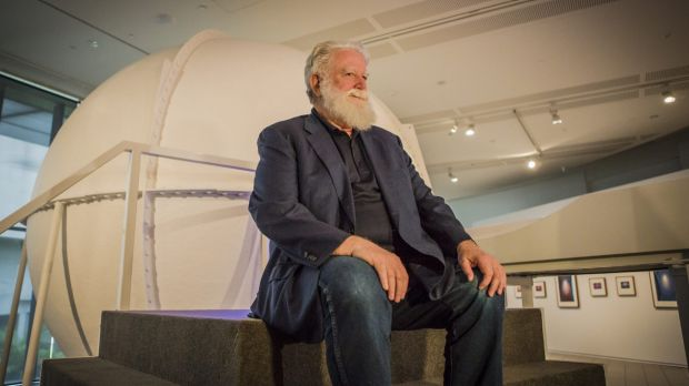 James Turrell sitting in front of the Perceptual Cell.