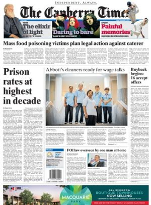 Front page of The Canberra Times, Friday December 12, 2014