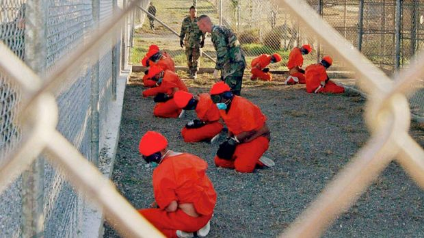 A holding area at Camp X-Ray at Guantanamo Bay in 2002.