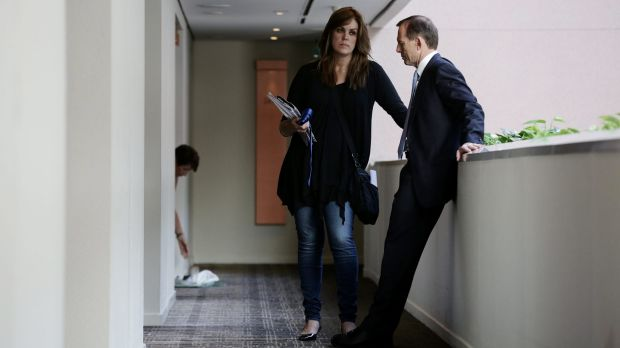 Peta Credlin and Tony Abbott during the 2013 federal election campaign.