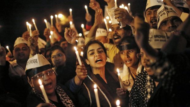 Public unhappy: A candlelight vigil in protest against the rape of the female passenger.