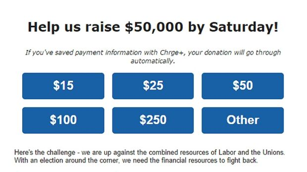 A screenshot of the LNP fundraising email.