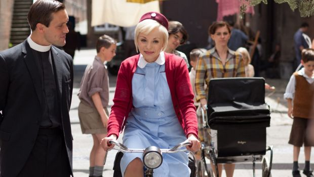 Memory lane: Jack Ashton and Helen George in a scene from <i>Call The Midwife</i>.