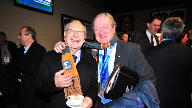 Harry Beitzel with Kevin Sheedy at a grand final breakfast in 2013.