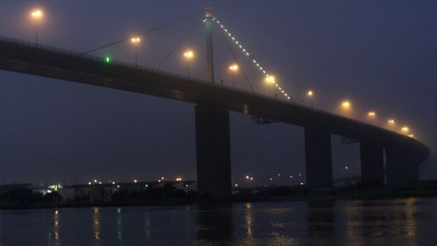 Evening fog closes in on the West Gate Bridge, Melbourne.