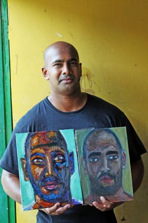 Self-portrait: Myuran Sukumaran, who is on death row in an Indonesian prison.