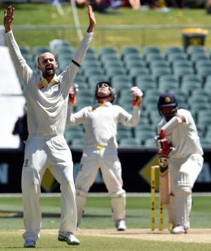 Predicted: Nathan Lyon picks up the wicket of Cheteshwar Pujara.