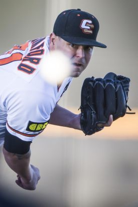 Tristan Crawford of the Canberra Cavalry whips one in from the pitchers mound.