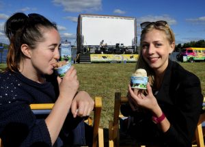 Olivia Warren and Tessa Black enjoy the Ben & Jerry's Open Air Cinema at Acton Park.