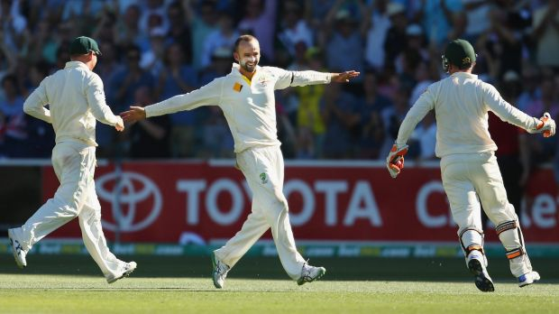 Memorable win: Nathan Lyon celebrates after the final wicket in Adelaide last year.