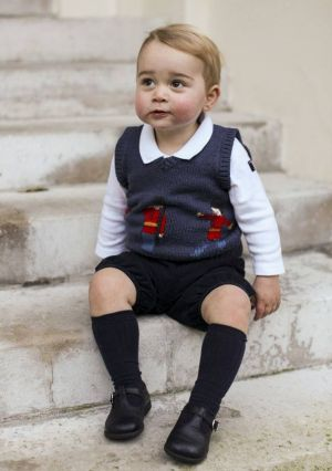 At home: The photographs were taken on the steps of Kensington Palace.