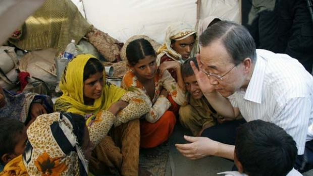 """Heart-wrenching"" . . . the UN Secretary-General, Ban Ki-Moon, speaks with orphaned children in a displaced persons' ..."