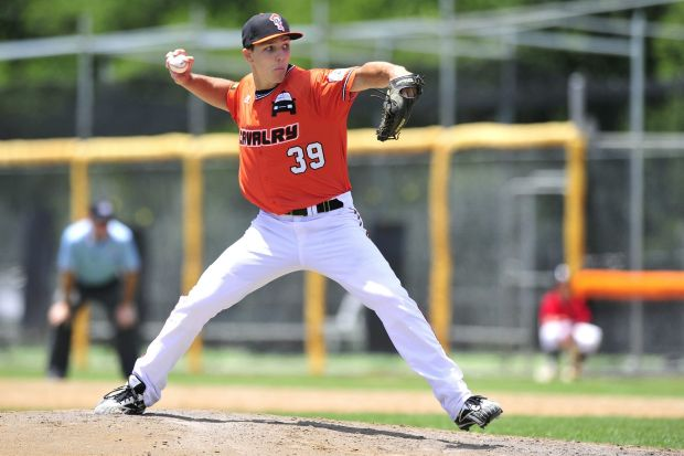 Canberra Cavalry pitcher Aaron Thompson threw six scoreless innings in Sunday's 3-0 win against the Melbourne Aces at ...