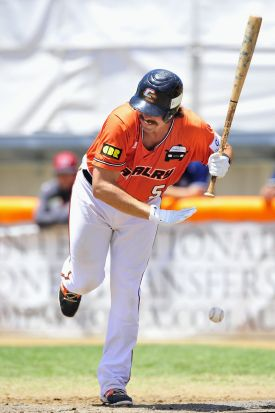Canberra Cavalry batter Jack Murphy reacts after being struck on the leg.