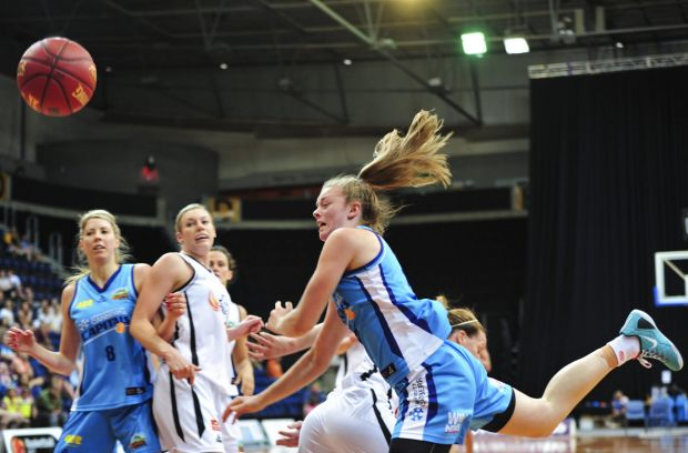 Canberra Capitals player Abbey Wehrung in action.