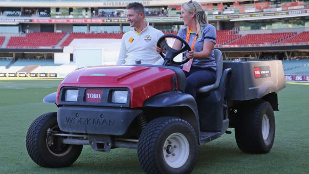 Michael Clarke is driven to the post-match press briefing on Satrurday after Australia won the Test.
