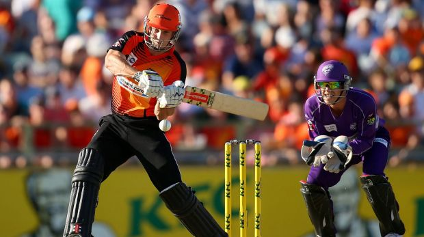 Shaun Marsh of the Scorchers in action during the 2014 Big Bash League final against the Hobart Hurricanes at the WACA ...