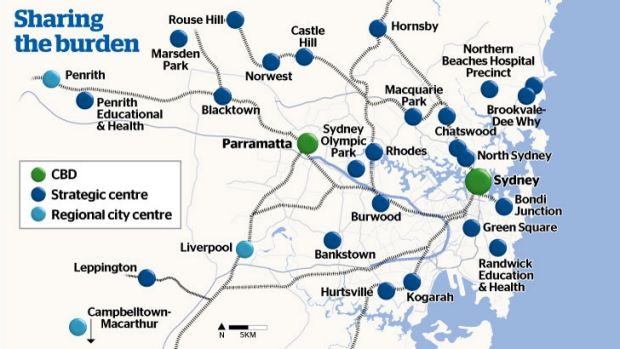 Growth centres for Sydney.