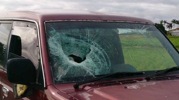 The windscreen smashed during the road rage attack.