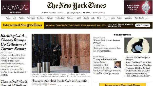 The <i>New York Times</i> homepage on Monday morning (AEDT).