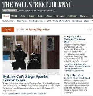 The <i>Wall Street Journal</i> homepage on Monday morning (AEDT).