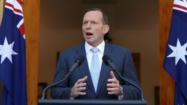 Prime Minister Tony Abbott addresses the media on Monday.
