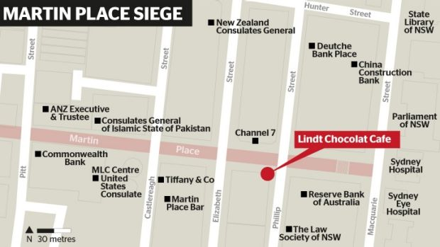 A map showing the siege location in Sydney's CBD, and some of the surrounding prominent buildings.