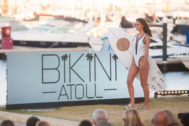 A very high cut wetsuit was among the designs in the Bikini Atoll collection.