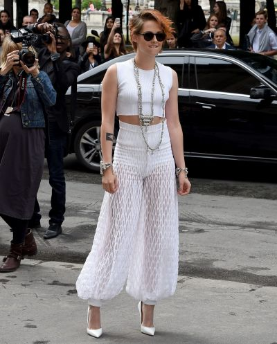 Culottes: Kirsten Stewart wears a slightly different version of the trend.