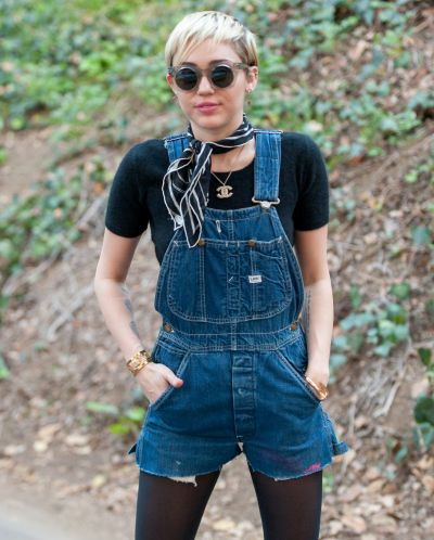 Overalls: Miley Cyrus goes for a short overall look.