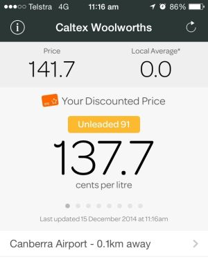 A screenshot of the Woolworths fuel app shows the unleaded petrol price at 137.7 cents per litre for customers with an ...