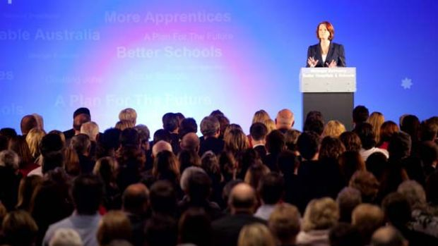 Julia Gillard address the party faithful at yesterday's ALP campaign launch.