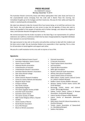 Full text of a statement from the Australian Muslim community.