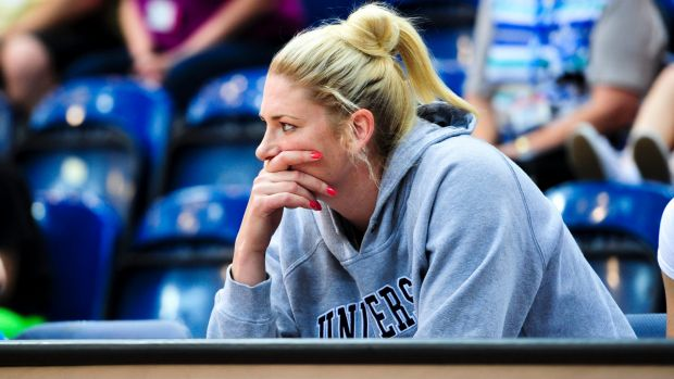 Lauren Jackson watches the Capitals from the sideline last Sunday. She could rejoin the action this weekend.