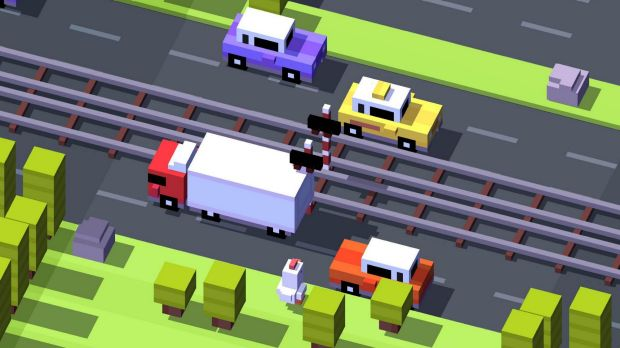 Chicken run: A screenshot from the <i>Crossy Road</i> game.