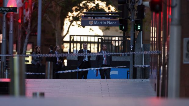 Police near Martin Place station after the siege ended.