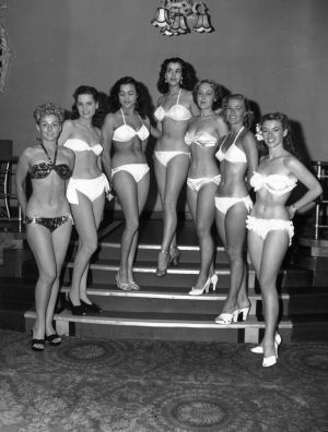 Competitors in the first Miss World contest on July 27, 1951 at the Empire Rooms in London.