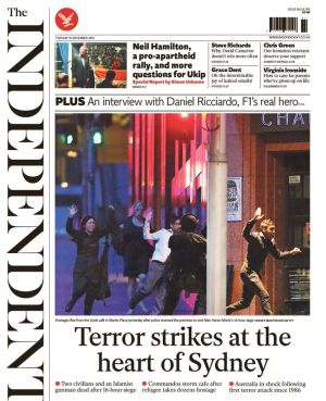 Front-page coverage: The siege in the UK's <i>Independent</i>.
