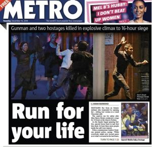Vivid: The cover of the <i>Metro</i> newspaper in London.