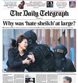 Lead story: The Sydney siege in the  Telegraph of London.