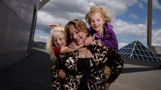 Former MP Sophie Mirabella with her children Kitty and Alexandra at Parliament House.