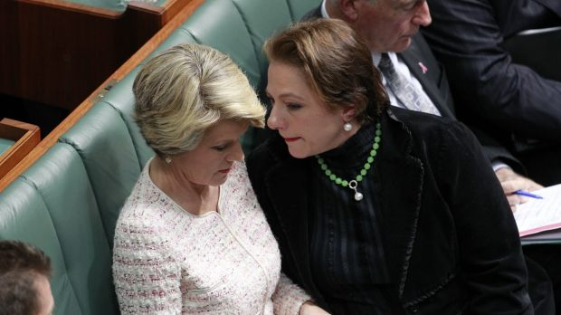 Sophie Mirabella with then deputy opposition leader Julie Bishop, in 2012.