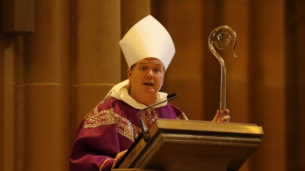 Archbishop of Sydney Anthony Fisher celebrates a mass to pay respect to the victims of the Martin Place siege.