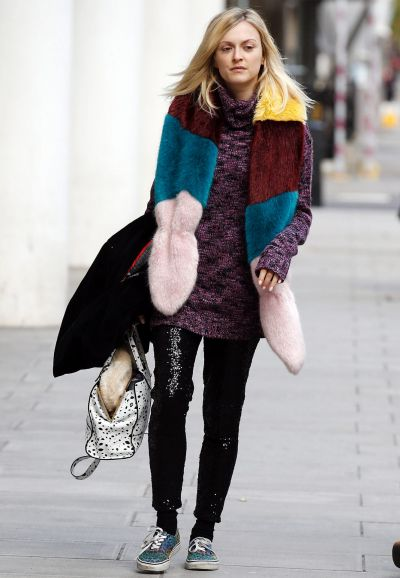 Fearne Cotton seen arriving at the BBC Radio 1 Studios on December 11, 2014 in London, England.