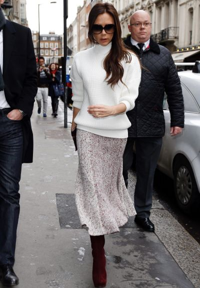 Victoria Beckham seen arriving at The Arts Club, Dover Street on December 12, 2014 in London, England.