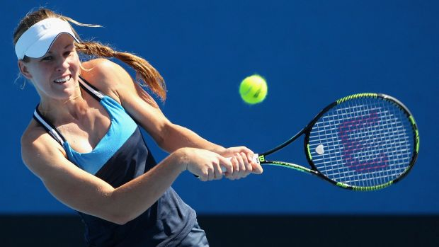Olivia Rogowska plays a backhand in her first-round match against Seone Mendez at Melbourne Park on Tuesday.