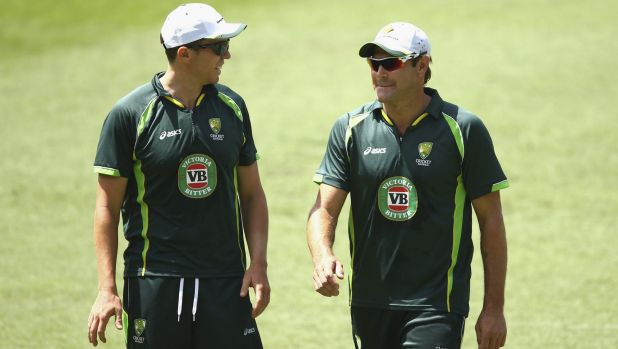Australian players training at the Gabba on Tuesday.