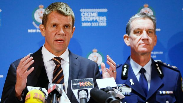Then premier Mike Baird and NSW police commissioner Andrew Scipione during a press conference about the siege in Martin ...