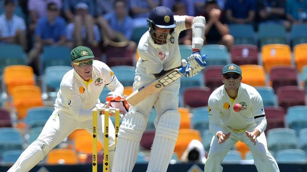 Centurion: Indian opener Murali Vijay plays to the leg side on his way to his ton on day one of the second Test in Brisbane.