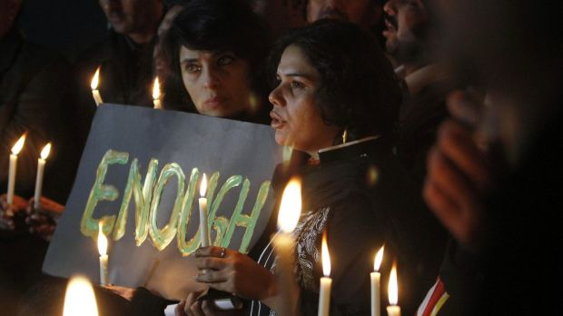 Pakistanis at a candlelit vigil in the nation's capital, Islamabad.